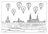 Die Postkarte zum Ausmalen; Postkarte Dresden Canalettoblick. Das Panorama der weltbekannten Dresdensilhouette mit von der Elbwiesen aufgestiegenen Heißluftballons. Das Bild lädt ein zu heiterer Gestaltung und farbiger Vielfalt. Der Himmel könnte mit Wolken und Vögeln zusätzlich belebt werden. Aber auch ein strahlend klares Blau bringt die Gebäude und Ballons gut zur Wirkung.