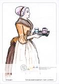 Die Postkarte zum Ausmalen; Postkarte Dresden Schokoladenmädchen nach Liotard. Ein ruhiges Motiv, das mit seinen großen Flächen leicht zu gestalten ist. Es zeigt, was zum Schokoladengenuss vor über zweihundert Jahren dazugehörte: das Tässchen mit der heißen Schokolade und ein Glas Wasser. Das Originalgemälde besticht durch zarte Pastelltöne. Ausgemalt von Laura, 11 Jahre