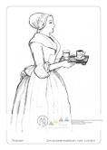 Die Postkarte zum Ausmalen; Postkarte Dresden Schokoladenmädchen nach Liotard. Ein ruhiges Motiv, das mit seinen großen Flächen leicht zu gestalten ist. Es zeigt, was zum Schokoladengenuss vor über zweihundert Jahren dazugehörte: das Tässchen mit der heißen Schokolade und ein Glas Wasser. Das Originalgemälde besticht durch zarte Pastelltöne.