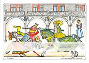 Die Postkarte zum Ausmalen; Postkarte Dresden Ritterspiele im Stallhof. Der Stallhof ist einer der ältesten in originaler Ausstattung erhaltenen Turnierplätze der Welt. Reizvoll wäre es den Turnierharnisch der kämpfenden Ritter in gegensätzlichen Farben zu gestalten. Federn und gemusterte Stoffe gehören zur barocken Pracht.