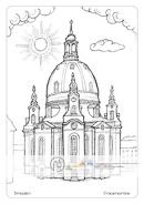 Die Postkarte zum Ausmalen; Postkarte Dresden Frauenkirche. Die neuerbaute Frauenkirche ist als Symbol für Frieden und Versöhnung in der ganzen Welt bekannt. Sie ist einer der größten Kuppelbauten nördlich der Alpen. Der helle Ton des Sandsteins und ein blauer Himmel wirken sehr harmonisch. Es können eigene Ideen eingefügt werden. Damit bietet die Zeichnung Freiraum für kreatives Gestalten.