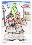 Die Postkarte zum Ausmalen; Postkarte Dresden Striezelkinder Striezelmarkt; Dresdner Christstollen. Bei Wind und Wetter, oft in eisiger Kälte, standen die Kinder mit ihren Bauchläden auf dem Marktplatz. Heute sind die Striezelkinder Symbolfiguren des Dresdener Weihnachtsmarktes. Malt das Bild in den Farben die das Herz erwärmen. Die Winterkleidung der Geschwister und die weihnachtliche Stimmung mit Tanne, Stern und Abendhimmel.