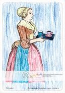 Die Postkarte zum Ausmalen; Postkarte Dresden Schokoladenmädchen nach Liotard. Ein ruhiges Motiv, das mit seinen großen Flächen leicht zu gestalten ist. Es zeigt, was zum Schokoladengenuss vor über zweihundert Jahren dazugehörte: das Tässchen mit der heißen Schokolade und ein Glas Wasser. Das Originalgemälde besticht durch zarte Pastelltöne. Ausgemalt von Fiona, 9 Jahre