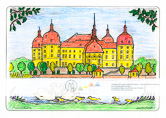 Die Postkarte zum Ausmalen; Postkarte Barockschloss Moritzburg; Jagdschloss und Lustschloss. Das Barockschloss von Moritzburg liegt mitten in der herrlichen Teich- und Waldlandschaft des Friedewaldes in der Nähe von Dresden. Die Kuppeln der vier mächtigen Rundtürme, sowie das Dach leuchten in warmem Rot. Das Schloss ist in den Farben des sächsischen Barock, Ocker und Weiss gehalten. Zwei Schwäne mit ihren Jungen begegnen sich am Ufer. Das Schloss war Filmkulisse für den Märchenfilm 3 Haselnüsse für Aschenbrödel.