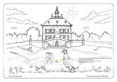 Die Postkarte zum Ausmalen; Postkarte Moritzburg Fasanenschlösschen; Jagdschloss. Das Fasanenschlösschen war Kulisse für die rauschenden Feste des sächsischen Adels. Der Rokokobau ist eingebettet in das füllige Grün der Parklandschaft. Dunkelrot und kupfern schillert das Gefieder der Fasanen, die im Vordergrund auf der blühenden Wiese stehen.