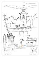 Die Postkarte zum Ausmalen; Postkarte Leuchturm Moritzburg; Binnenleuchtturm. Das Motiv zeigt Sachsens einzigen Binnenleuchtturm am Ufer des Niederen Großteiches. In der Natur kontrastiert der in hellrot und weiß gehaltene Turm mit den vielfältigen Grüntönen der Uferbewaldung. Im Schilf ist eine Graugansfamilie zu Hause. Sollte der Turm einen neuen, selbstgewählten Anstrich erhalten?