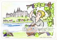 Meißen – Wein, Burg und Dom Auf der einen Seite die Weinbeeren, die zum berühmten Meißner Wein gekeltert werden, auf der anderen Seite die Burg und der Dom, die Wahrzeichen von Meißen – beides vereint an der Elbe. Viele Gestaltungsmöglichkeiten für die vorgezeichneten Motive und Platz für eigene Ideen, die das Bild weiter beleben können. Ausgemalt von Laura, 11 Jahre