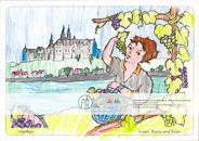 Meißen – Wein, Burg und Dom Auf der einen Seite die Weinbeeren, die zum berühmten Meißner Wein gekeltert werden, auf der anderen Seite die Burg und der Dom, die Wahrzeichen von Meißen – beides vereint an der Elbe. Viele Gestaltungsmöglichkeiten für die vorgezeichneten Motive und Platz für eigene Ideen, die das Bild weiter beleben können. Ausgemalt von Fiona, 9 Jahre