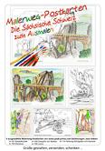 Enthält 5 ausgewählte Malerweg-Motive der Serie Elbsandsteingebirge.  A-101 Basteibrücke,  A-103 Kletterer,  A-104 Dampfer vor Rathen,  A-106 Luchs,  A-110 Festung Königstein mit Kanone. Abbildung zeigt Deckblatt der Set-Verpackung.