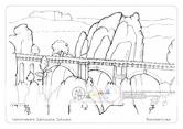 Die Postkarte zum Ausmalen; Postkarte Basteibrücke. Eines der bekanntesten Motive der Sächsischen Schweiz mit dem Lilienstein im Hintergrund. Vielfältige Gestaltunsmöglichkeiten für unterschiedliche Ansprüche, vom flächigen Ausmalen bis zur Differenzierung der Felsoberflächen und der Bäume.