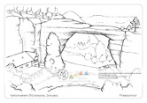 """Die Postkarte zum Ausmalen; Postkarte Prebischtor. Die größte natürliche Sandsteinbrücke Europas, die sogar schon im Kino zu sehen war. Das Ausmalen dieses Motivs erfordert etwas mehr Geduld durch kleinere Flächen. Eine aufwendigere Gestaltung ist möglich z. B. durch das Strukturieren von Felsen und Wald. Das dargestellte Gasthaus """"Falkennest"""" kann mit Farben phantasievoll bemalt werden."""