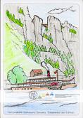Die Postkarte zum Ausmalen; Postkarte Elbdampfer. Ein Schaufelraddampfer vor der berühmten Bastei – das Motiv für alle, die sich sowohl für die Landschaft als auch für Technik begeistern. Die vielen Details fordern schon größere Aufmerksamkeit und Geschick – egal, ob der Dampfer nach dem Vorbild auf der Elbe oder frei nach Phantasie gestaltet wird. Und gibt es nicht auch Enten auf der Elbe?