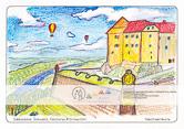 Die Postkarte zum Ausmalen; Postkarte Festung Königstein Georgenburg. Ausschnitt aus einer der größten europäischen Festungsanlagen vor dem Hintergrund der Sächsischen Schweiz. Die starken Festungsmauern kontrastieren zur Elblandschaft mit dem weiten Horizont. Lässt Platz zur phantasievollen Gestaltung. Vielleicht grast ein Pferd vor der Mauer?