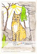 Die Postkarte zum Ausmalen; Postkarte Luchs. Beliebtes Motiv, das Spielraum für flächige als auch detaillierte Gestaltung bietet. Der Luchs ist Wahrzeichen und Wappentier des Nationalparks Sächsische Schweiz und z. B. an der Bergstation des Aufzugs in Bad Schandau im Tiergehege zu sehen.