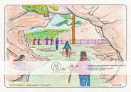 Die Postkarte zum Ausmalen; Postkarte Kuhstall Sächsische Schweiz. Felstor, eine der größten Höhlen der Sächsischen Schweiz und ein beliebtes Ausflugsziel mit Resten einer mittelalterlichen Burganlage. Hat sich vielleicht ein Ritter unter die Besucher gemischt? Und was gibt es Leckeres zur Stärkung für den Weiterweg? – Motiv zum Ausmalen, durch die großen Flächen auch für weniger geübte Maler, das Platz zum Ergänzen eigener Ideen lässt.